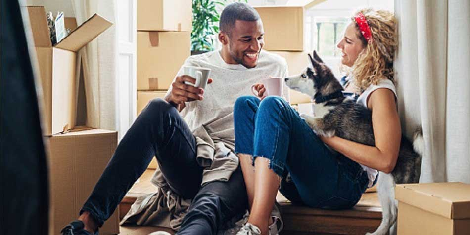 Couple talks in bright room while dog sits beside them